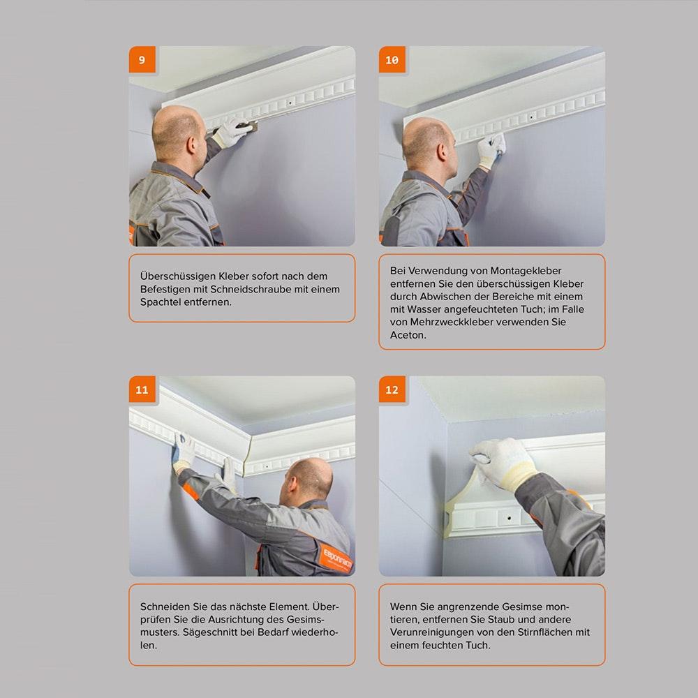 Dekor-Profil M Stuckleiste 1,2 m indirekt Wand oder Decke 12