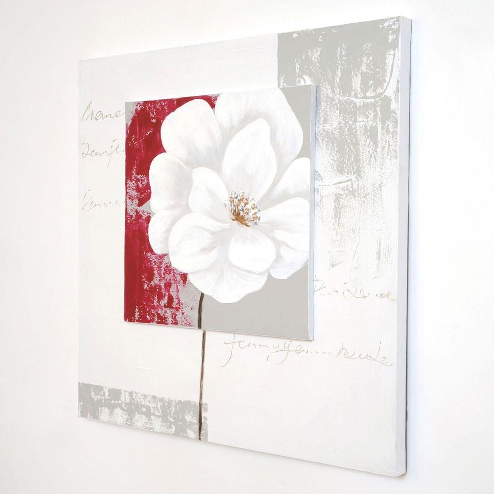 Wandbild Cugina Leinwand-Holzrahmen Weiß-Grau-Rot