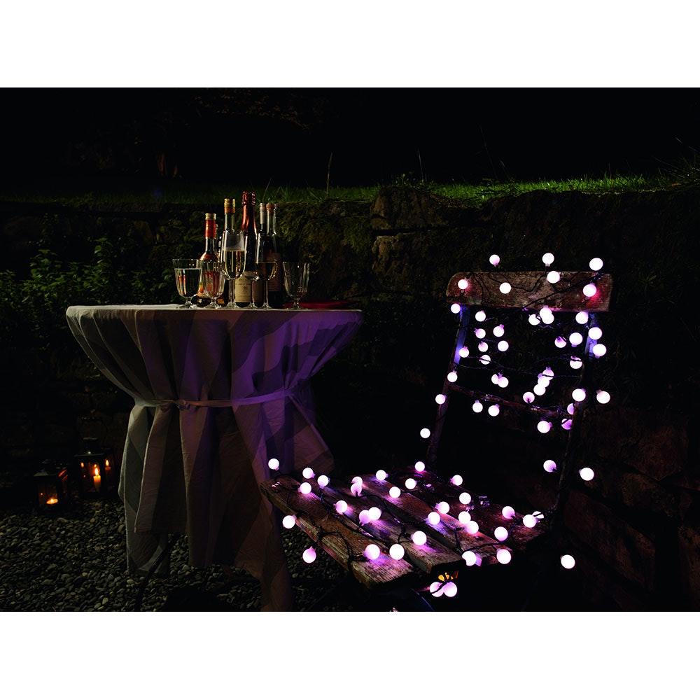 LED Globelichterkette große runde Dioden mit RGB Farbwechsel 80 RGB Dioden IP44 6