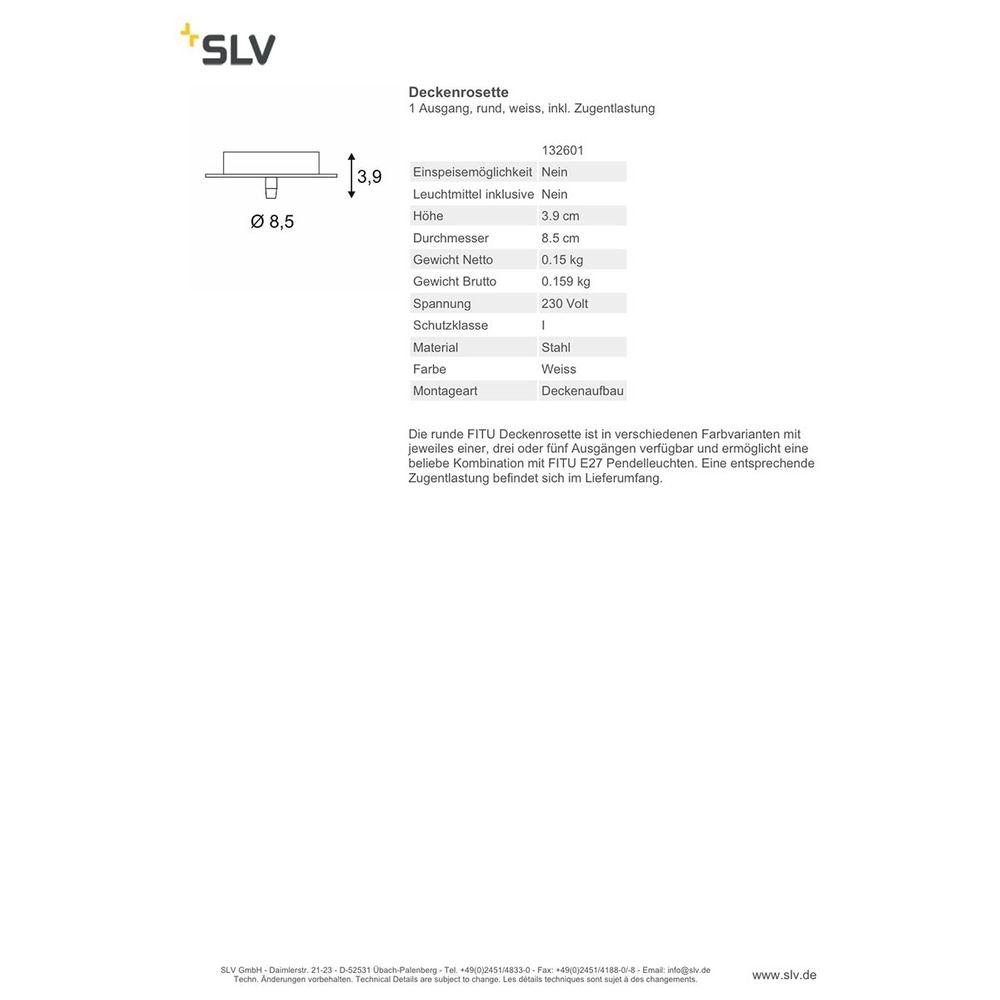 SLV Deckenrosette 1 Ausgang rund Weiß inkl. Zugentlastung 3