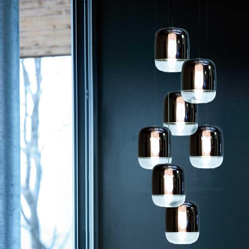 Prandina lange Hängeleuchte Gong Mini 9-flammig Silberfarben 2
