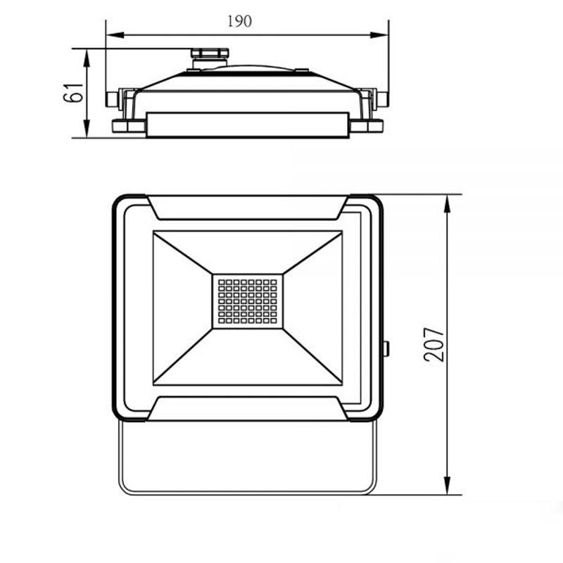 LED Fluter Warmweiß 30W 2400lm , IP65 Schwarz 3