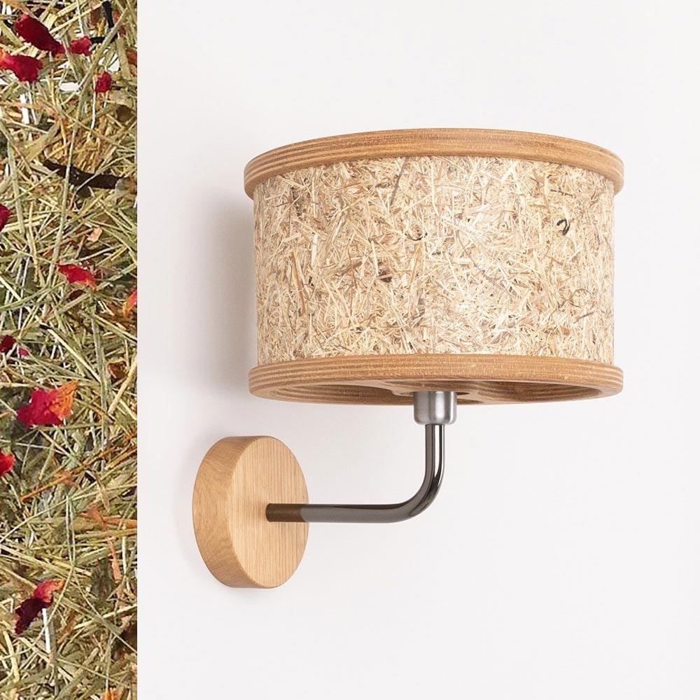 Holz Wandleuchte Ø 25cm mit Heuschirm 2