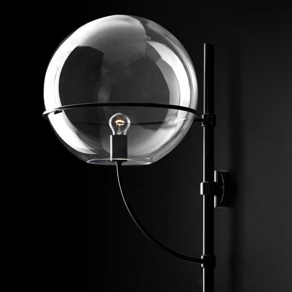 Oluce Kugelglas Außen-Wandlampe Lyndon Schwarz 2