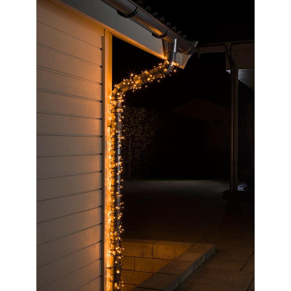 Micro LED Lichterkette mit Multifunktion 80 bernsteinfarbene Dioden IP44 1
