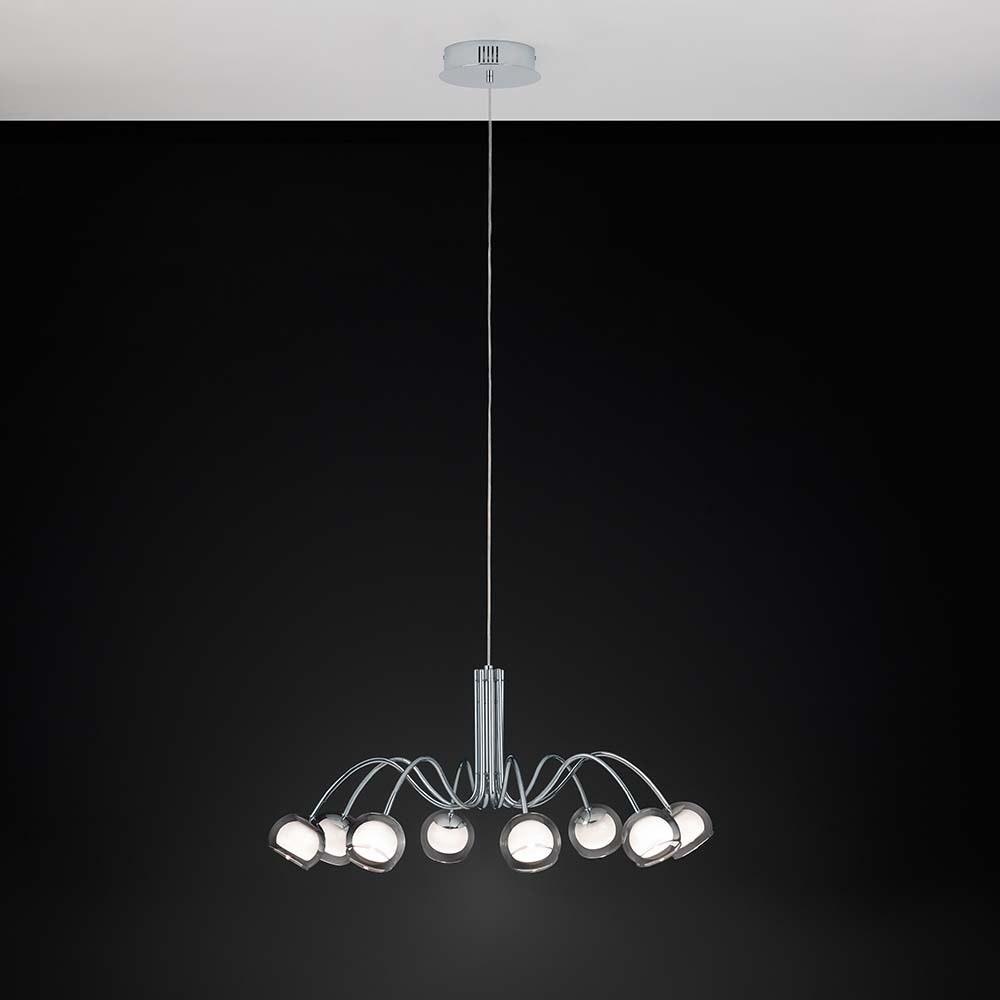 Glas LED Hängelampe Malagon 2720lm Chrom, Schwarz 1