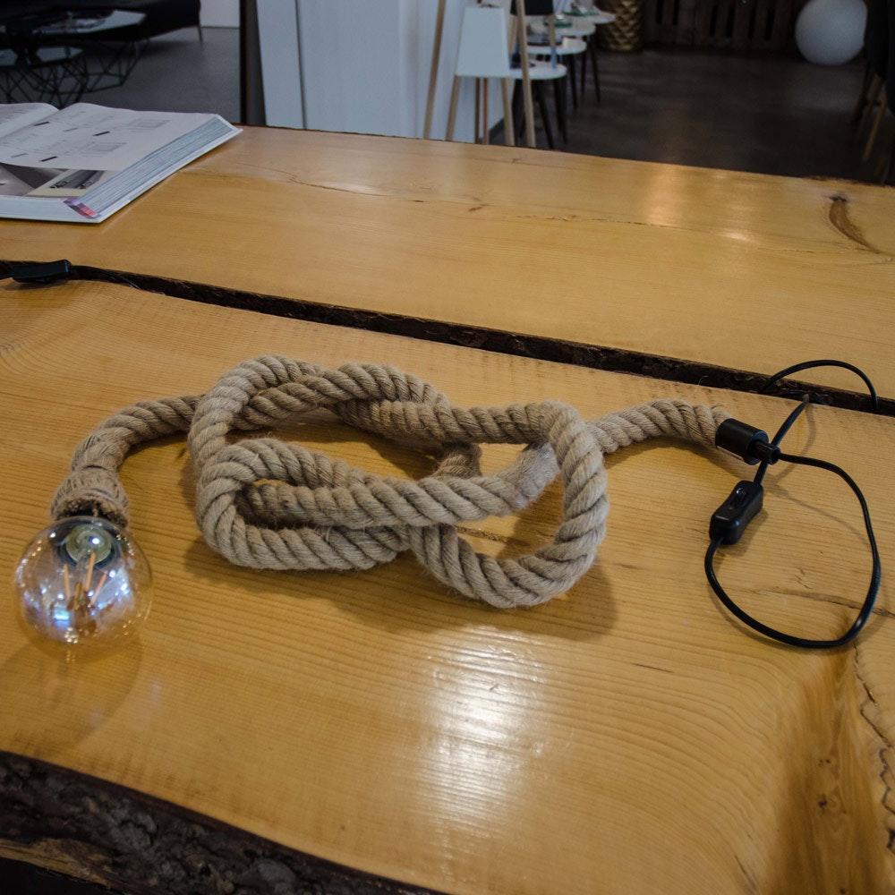 s.LUCE Rope Seil-Tischleuchte mit Fassung 200cm Braun thumbnail 3