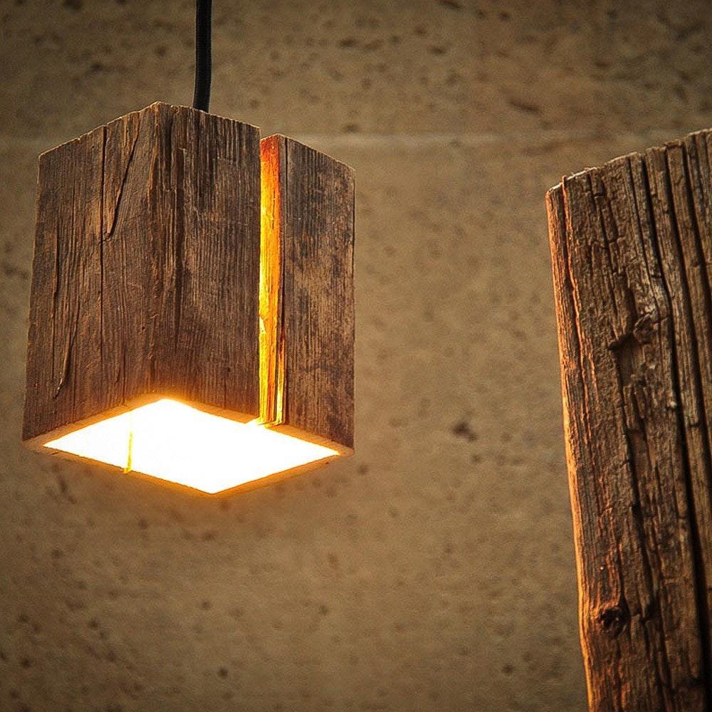 Almleuchten Altholz Hängeleuchte H5 mit Lichtschlitz Braun