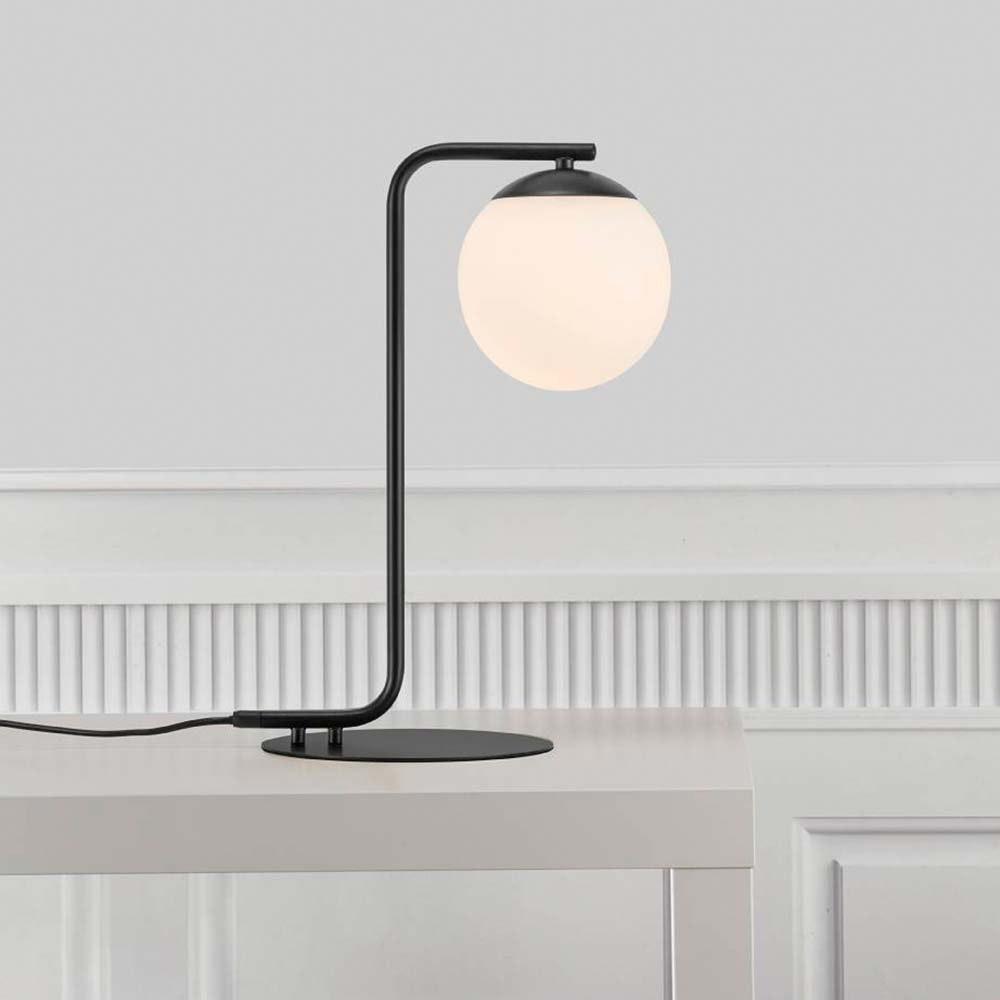 Nordlux Tischlampe Grant Schwarz, Opal Weiß 1
