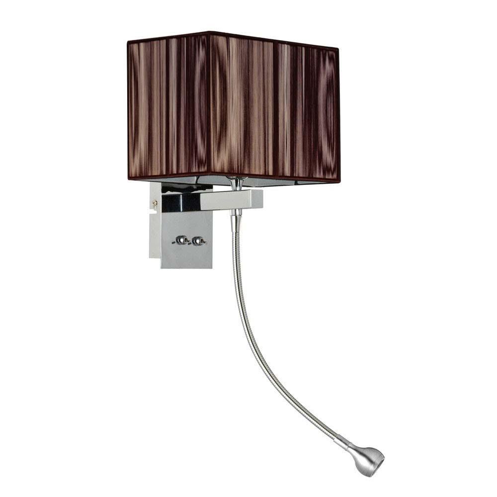 s.LUCE Twine Wandleuchte mit LED-Lesearm und Stoffschirm 1