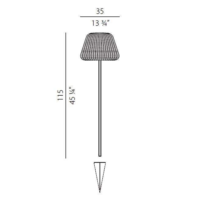 Panzeri Ralph Rattan Pollerleuchte 115cm 7