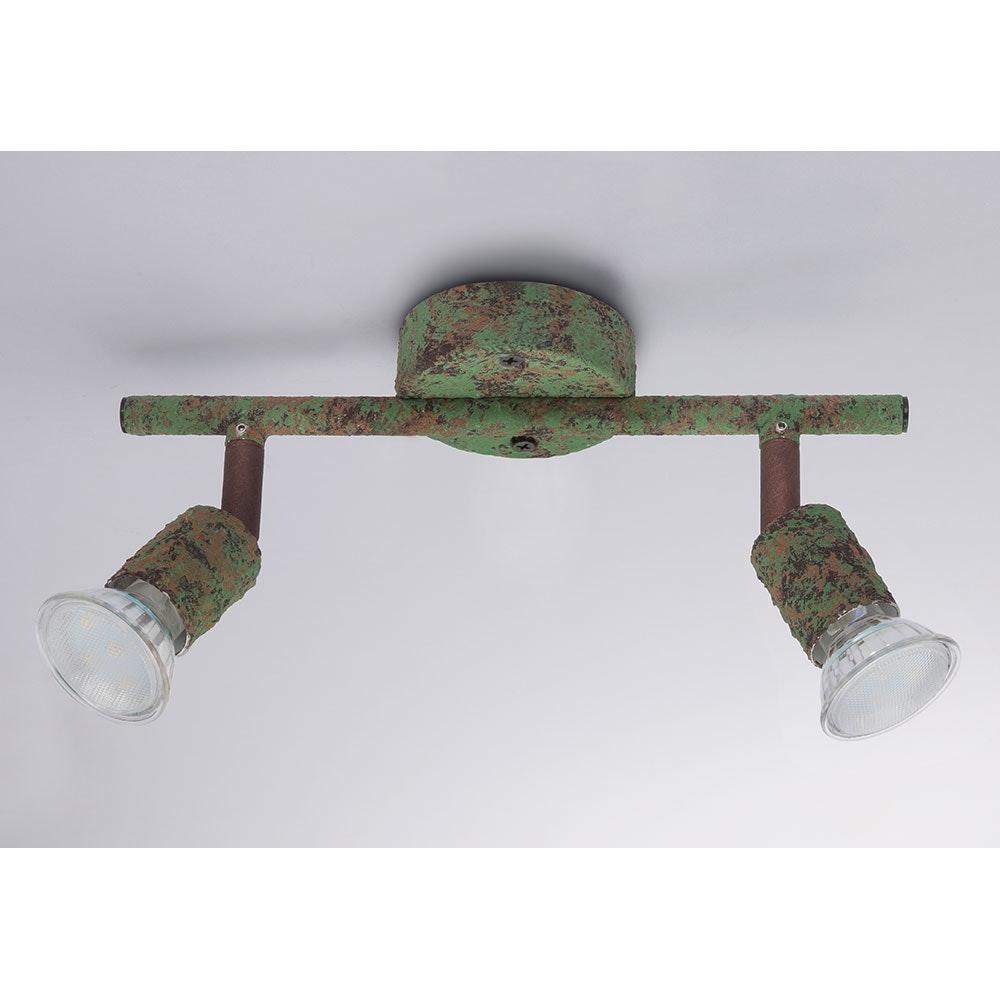 LED Strahler Olana 2-flg. Grün, Rostfarben 1
