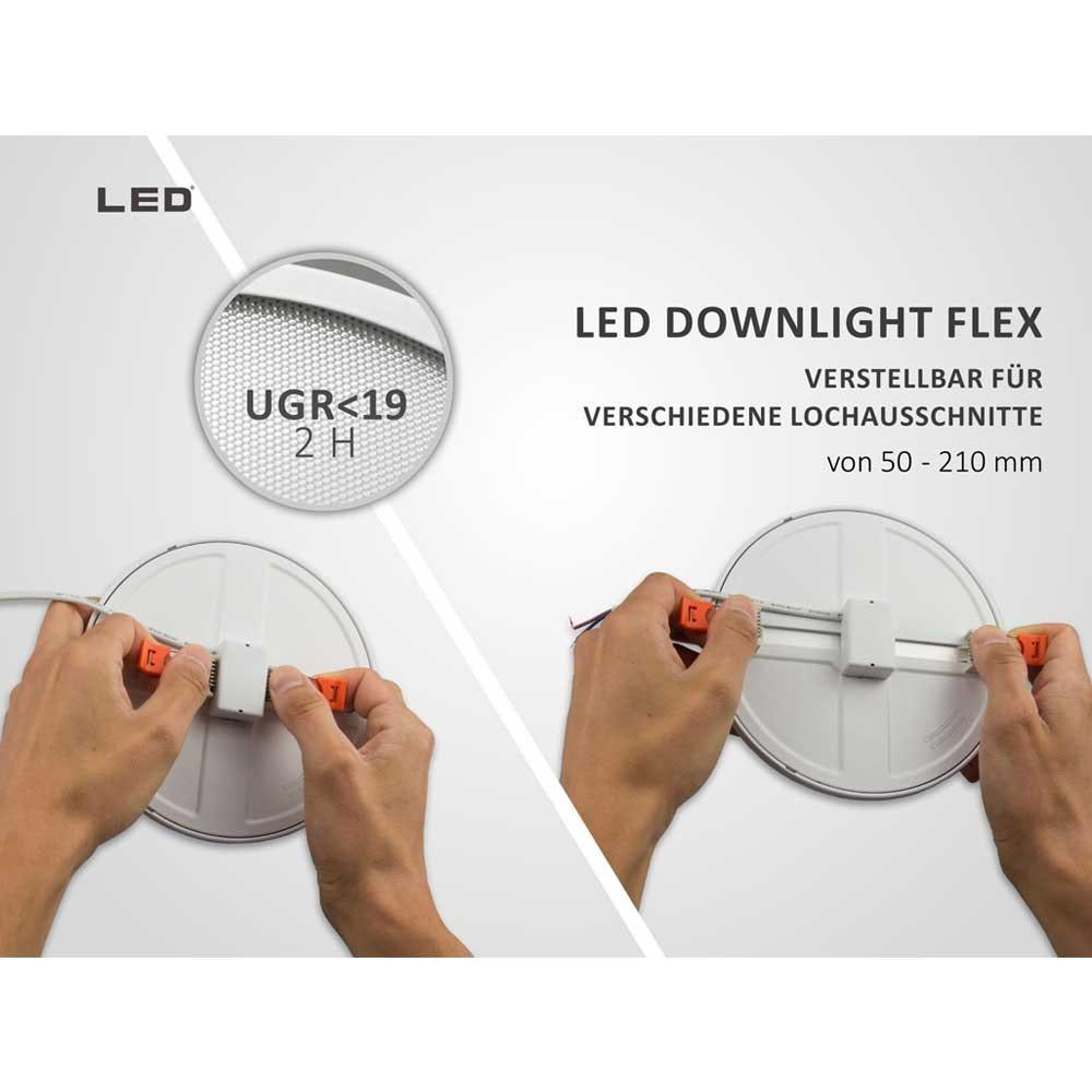 Einbau LED-Panel Ø 23cm Flex dimmbar 23W Ausschnitt 5-21cm neutralweiß 3