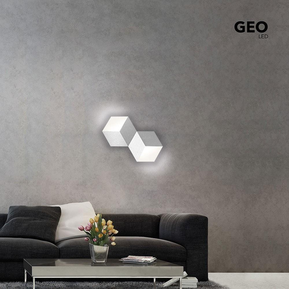 Geo LED-Deckenleuchte 2-flammig 53 x 30cm Alu-matt