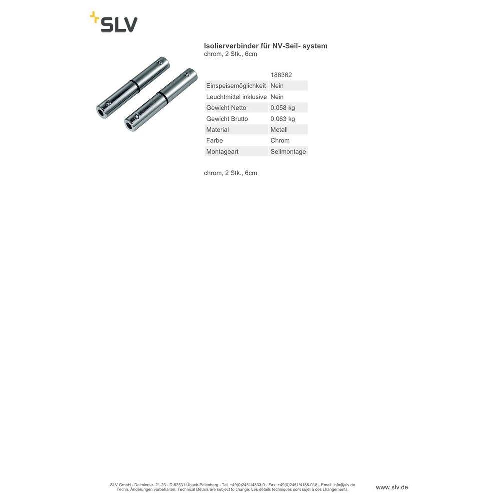 SLV IsolierVerbinder für NV-Seilsystem chrom 2 Stk. 6cm 2