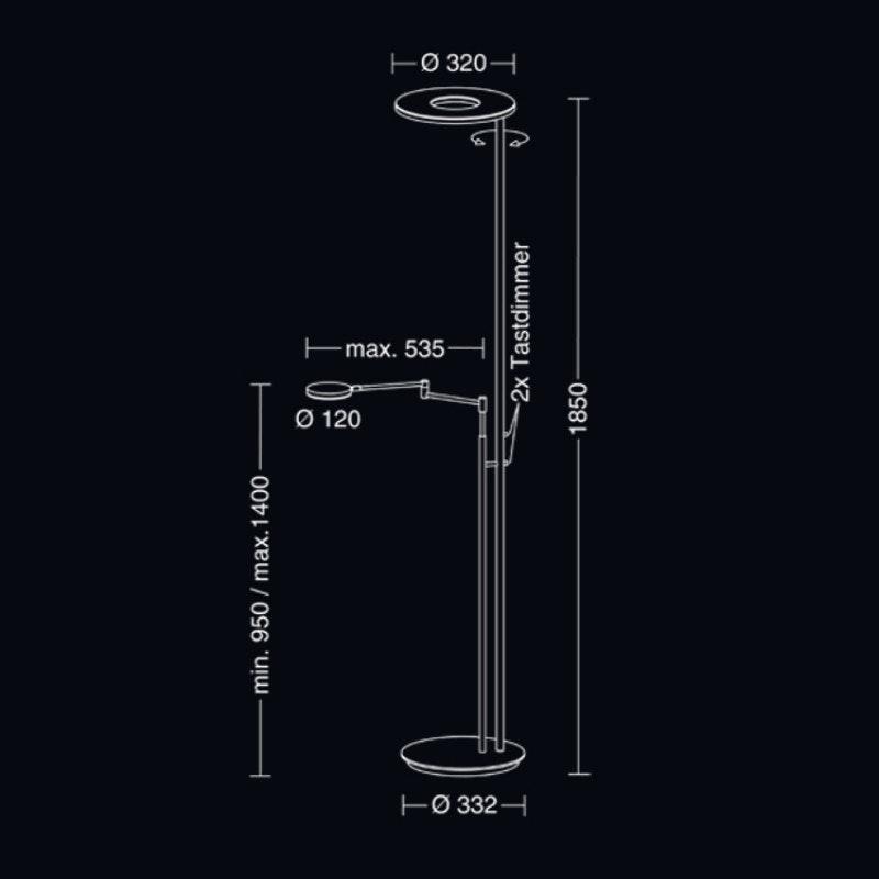 Holtkötter LED-Deckenfluter NOVA FLEX Platin, Schwarz Tastdimmer 6500+2200lm 2700K 2