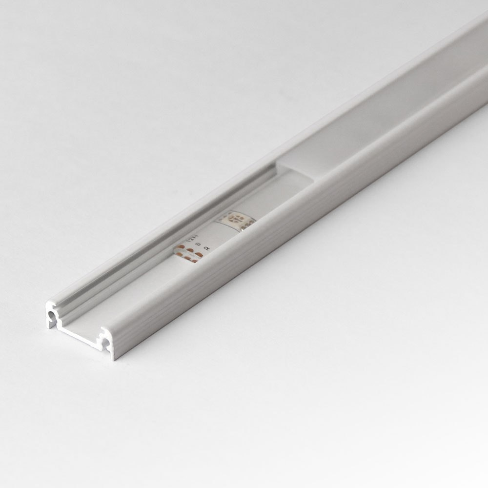 Aufbauprofil flach 200cm Weiß ohne Abdeckung für LED-Strips 2