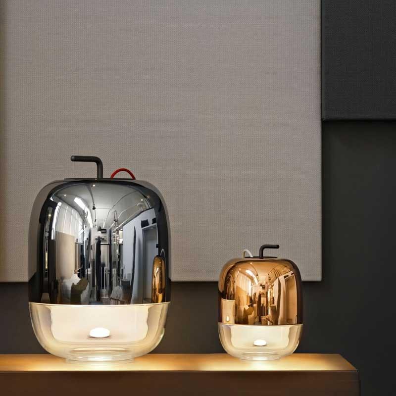 Prandina moderne Glaslampe Gong T3 verspiegelt Rot 2