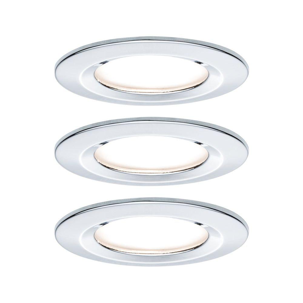 3er-Set Einbauleuchte LED Nova rund 3-Stufen Dimmbar Chrom 1