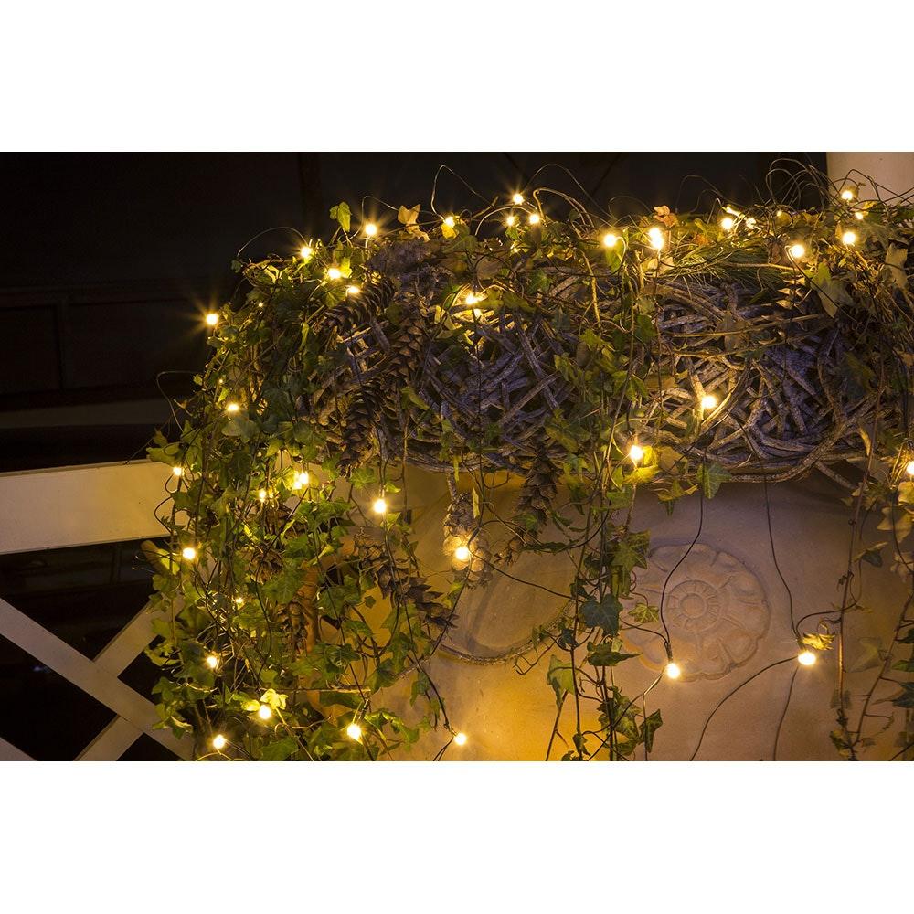 LED Lichternetz mit weißen Globes 80 Warmweiße Dioden IP44 5