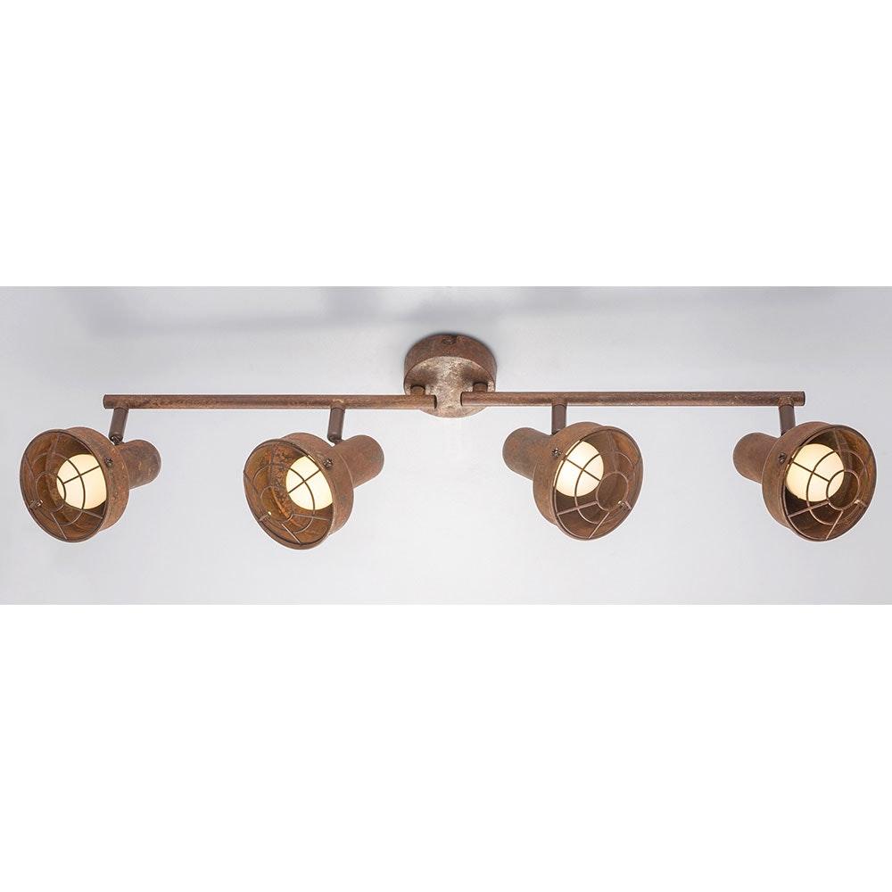 LED Strahler Tycho 4-flg. Schirm mit Gitter beweglich Rostfarben 5