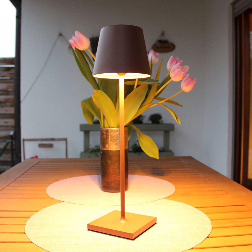 LED Tisch-Akkuleuchte Qutarg für Außen IP54 Dimmbar Braun 3