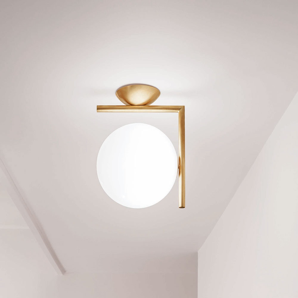 FLOS IC C/W2 Wandlampe mit Glaskugel 30cm