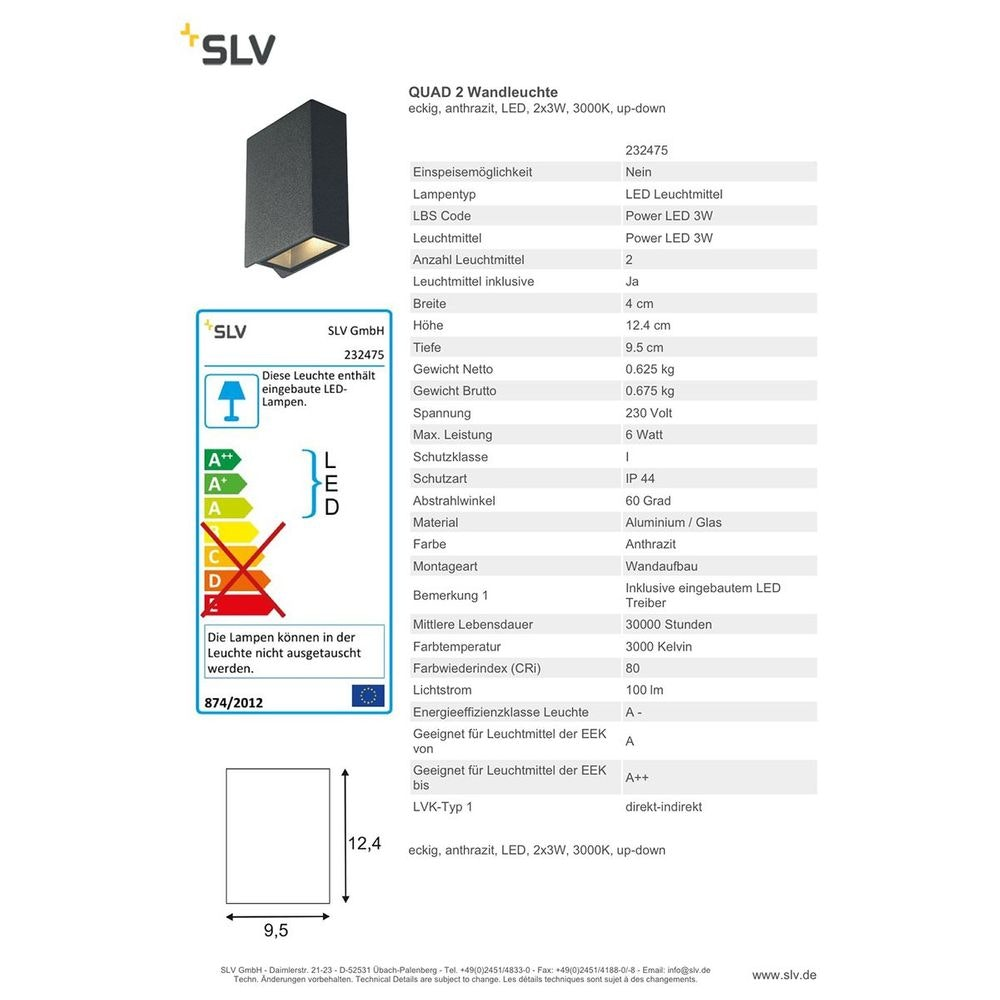 SLV Quad 2 Wandleuchte eckig anthrazit LED 2x3W 3000K Up-Down 2