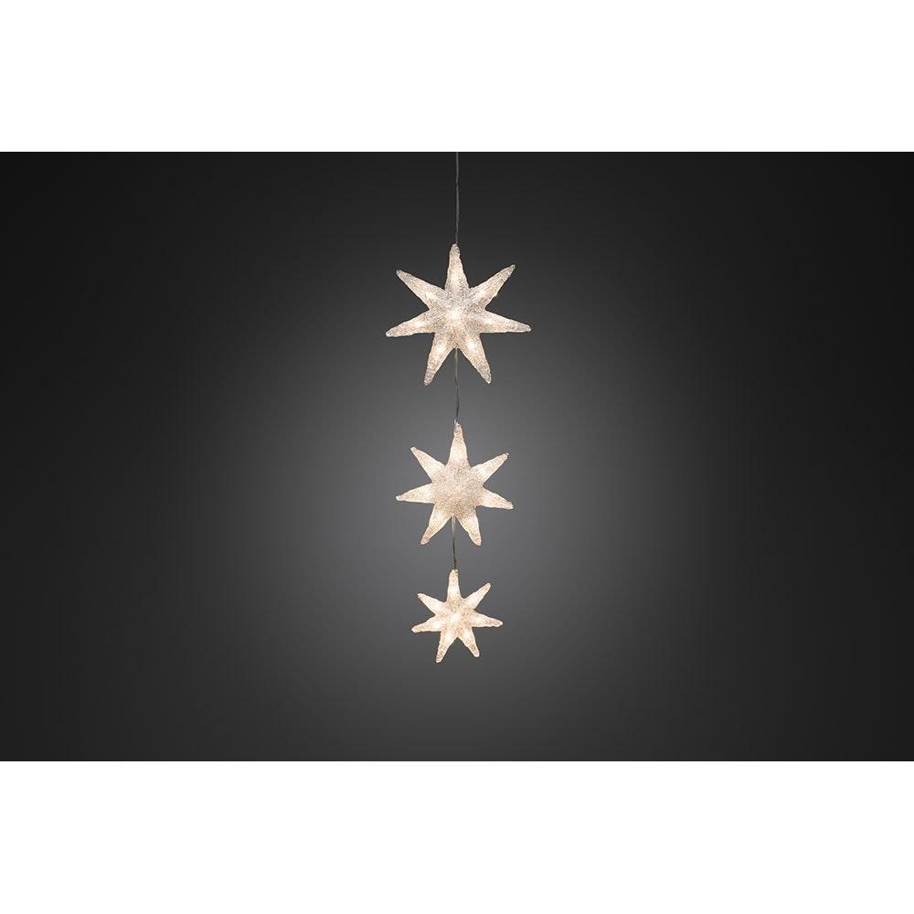 LED Lichtervorhang 3 Acryl Sterne mit Timer 24 Warmweiße Dioden batteriebetrieben IP44 2