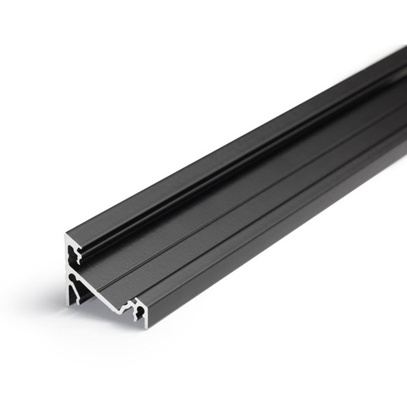 Aufbau-Eckprofil 30° 200cm Schwarz ohne Abdeckung für LED-Strips