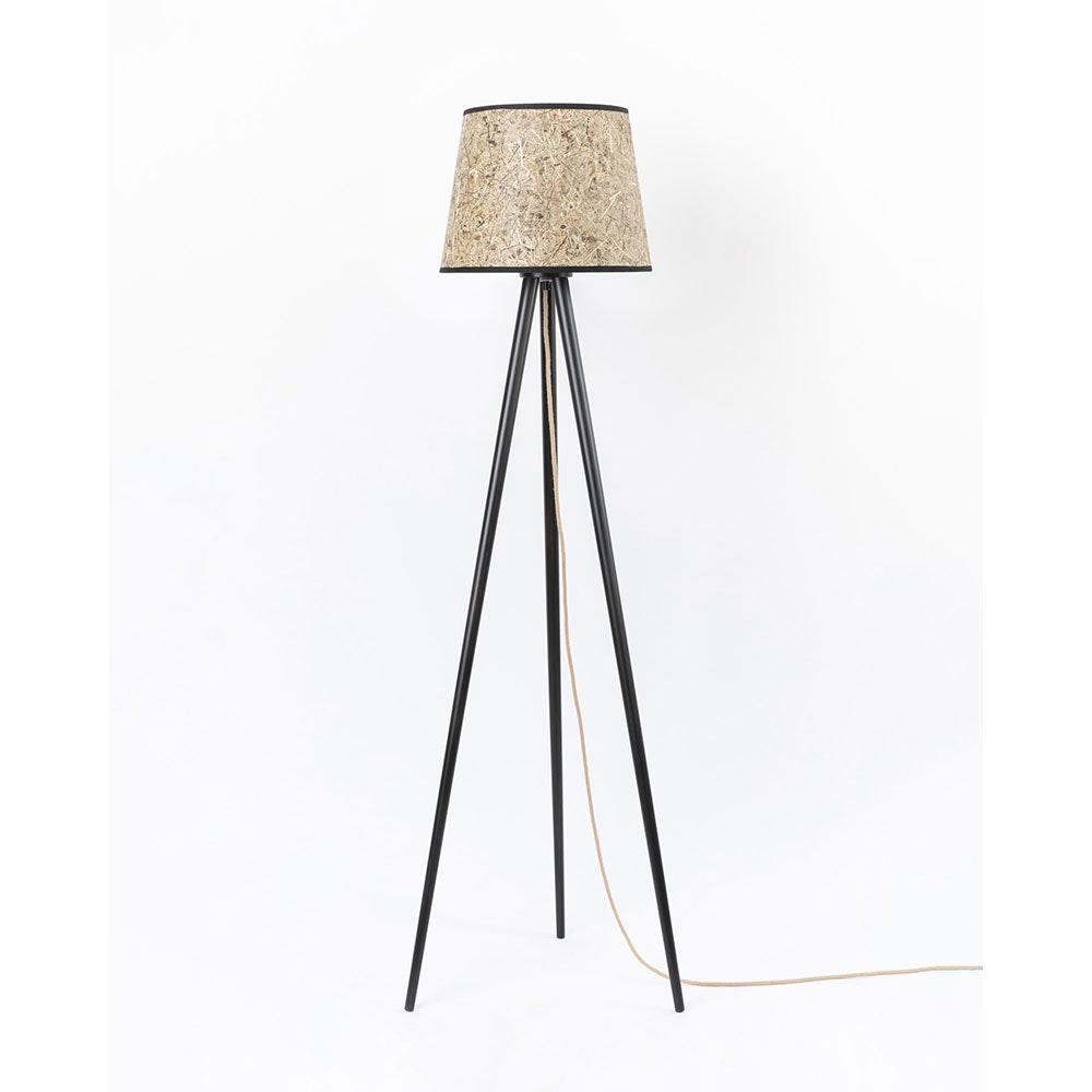 Holz Dreibein-Stehlampe mit Heuschirm 2