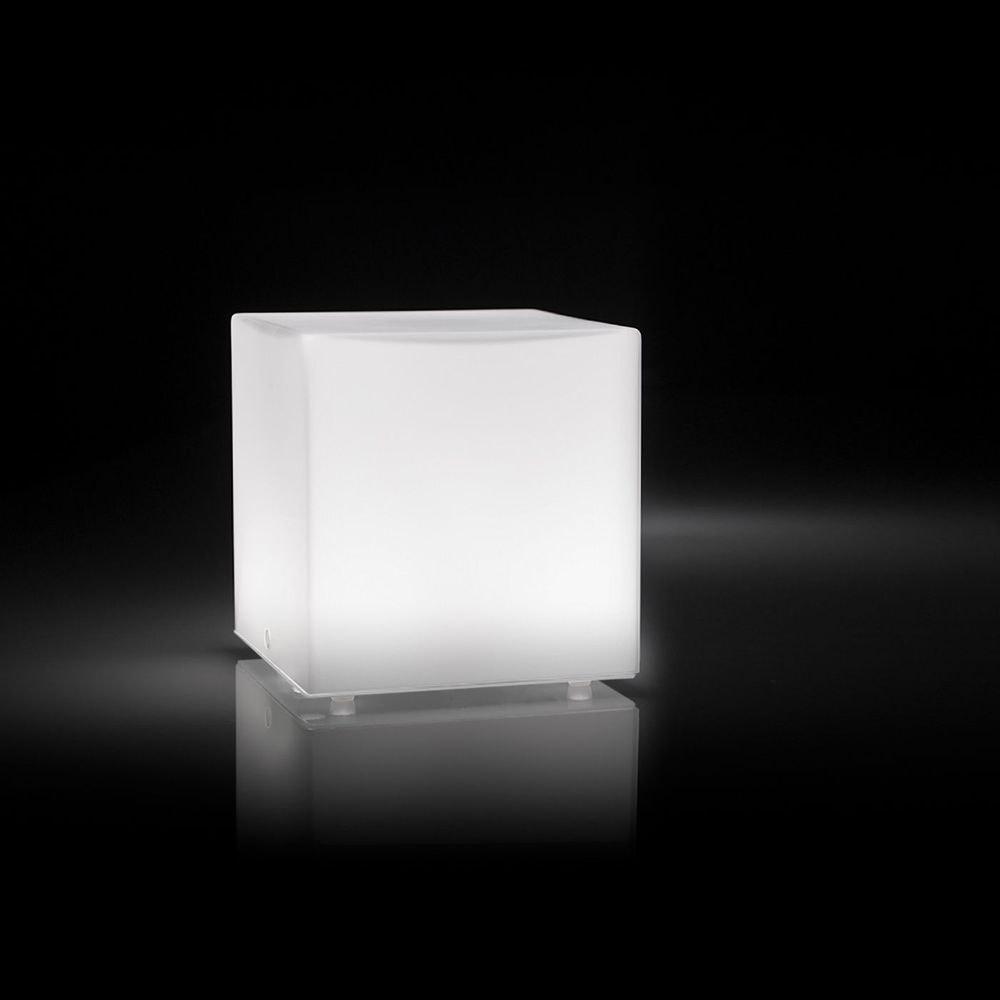 Panzeri Kubik LED-Tischlampe Glaswürfel