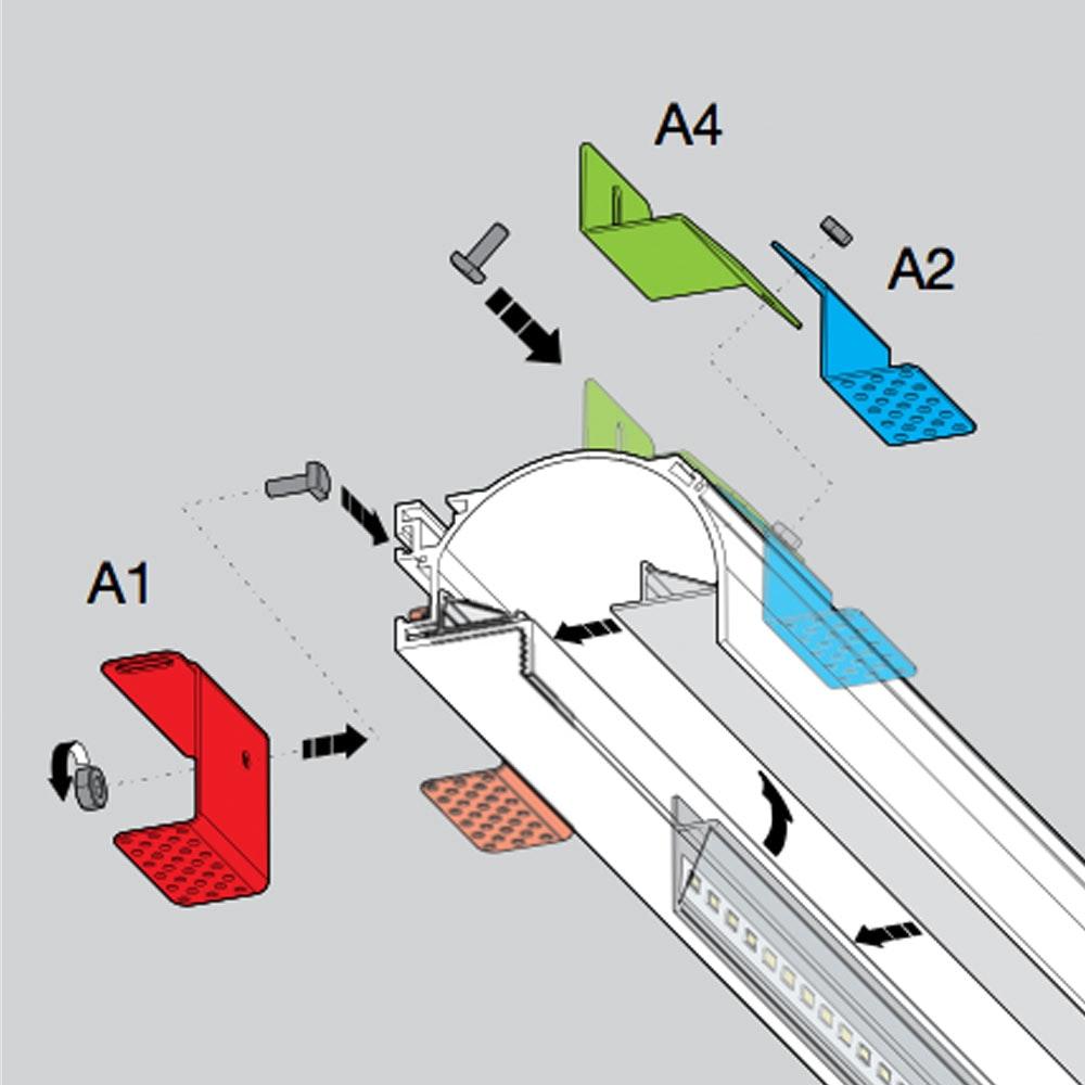 Panzeri Manhattan Montagezubehör für Einbauprofil thumbnail 6
