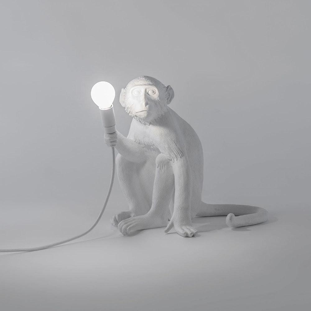 Seletti Monkey Aussen-Tischleuchte sitzend Weiß 2