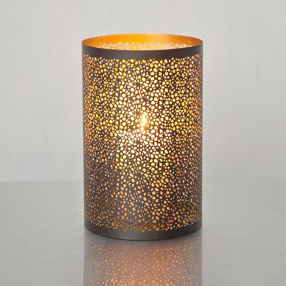 Windlicht Punti Gross Metall Braun-Gold