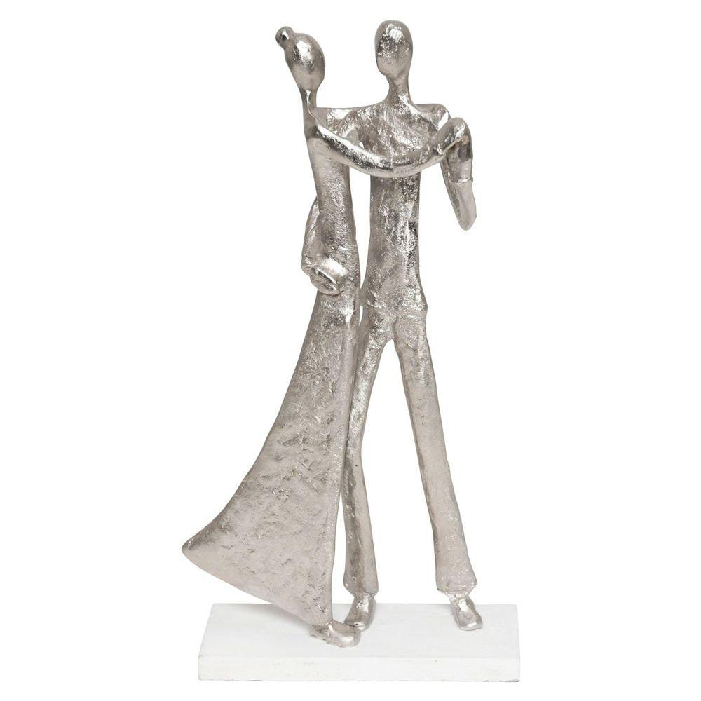 Figur Simmetria Aluminium-Holz Silber- Weiß 2