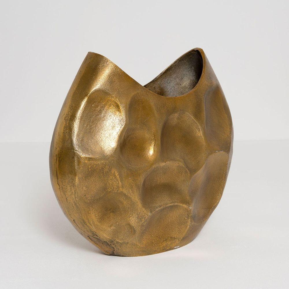 Dekovase Rustica Oval Gross Aluminium Gold 2
