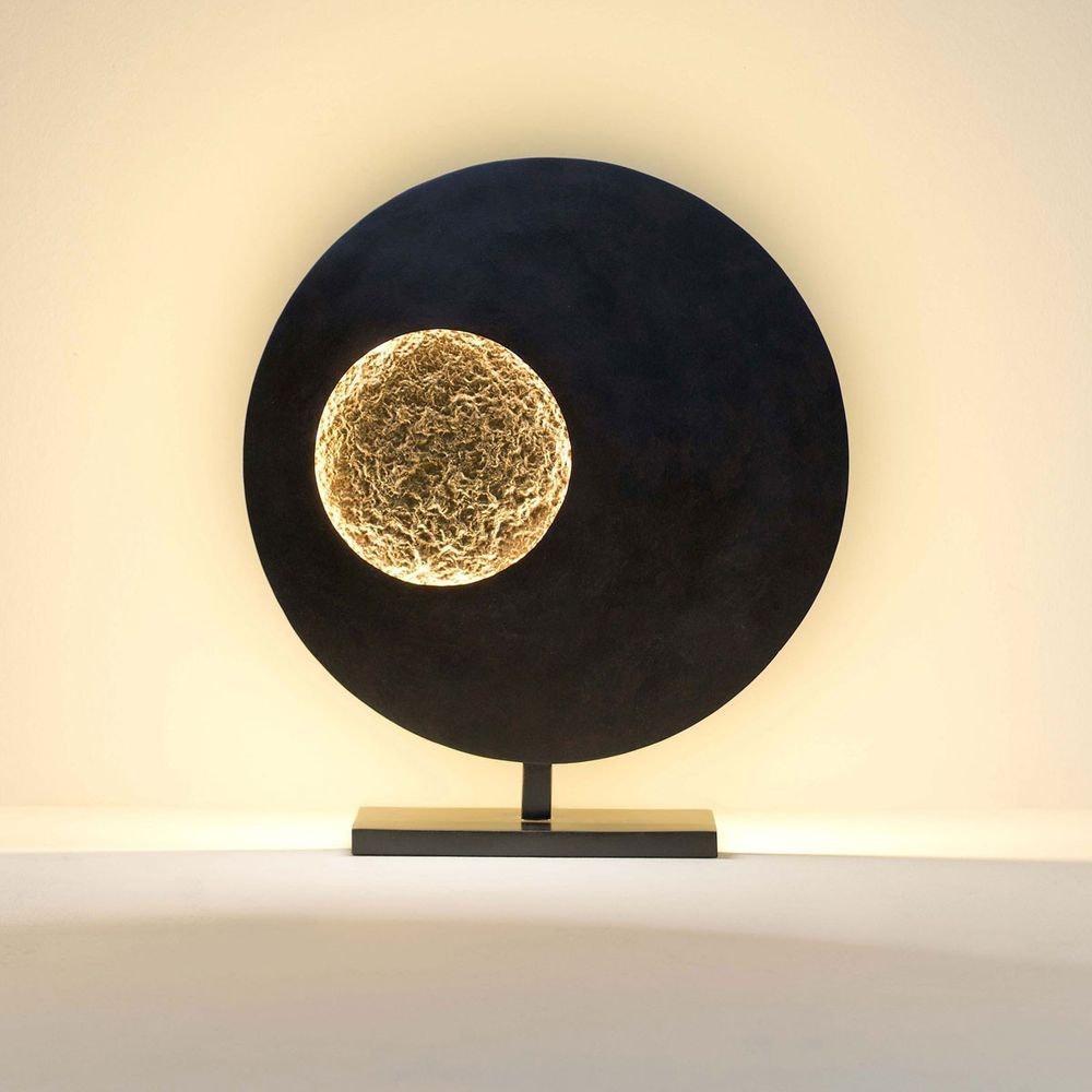 Tischleuchte Luna Rund Eisen Braun-Schwarz-Gold 1
