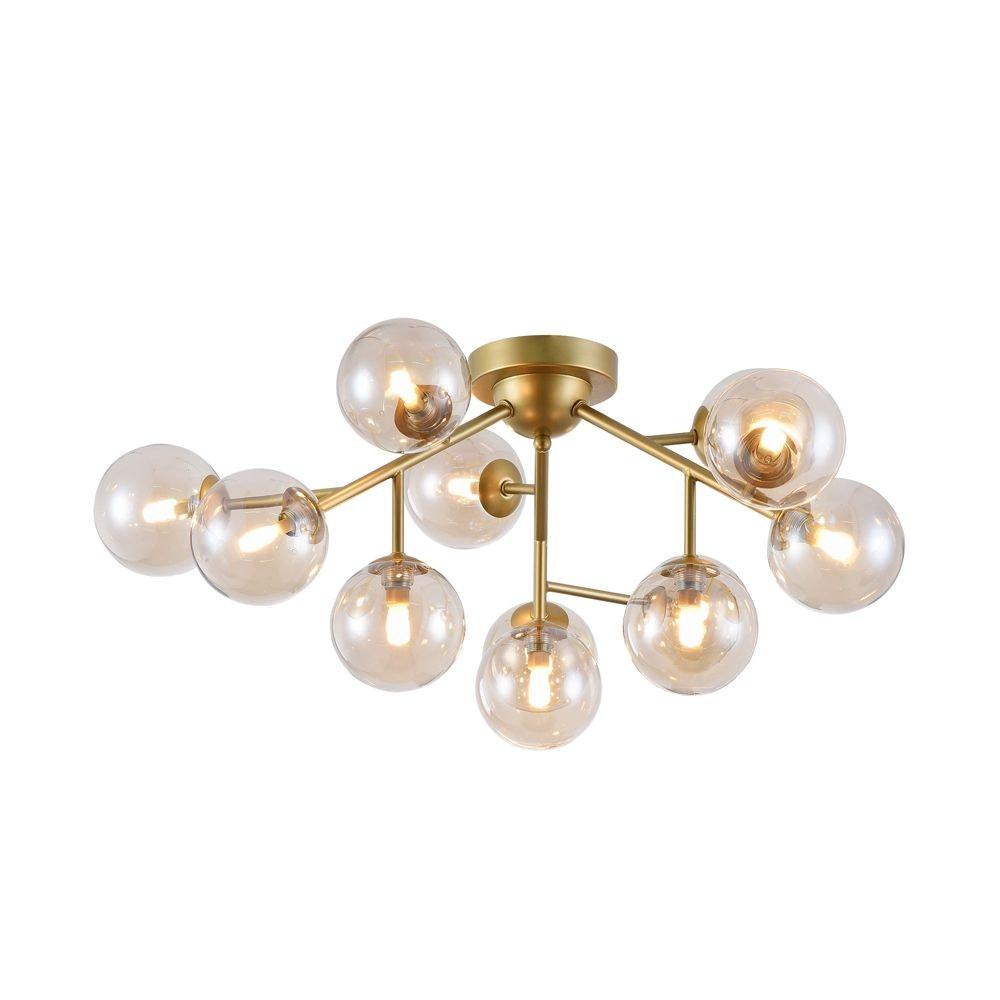 Glamouröse Deckenleuchte Glob 60cm Goldfarben 12 x Rauchglas 2