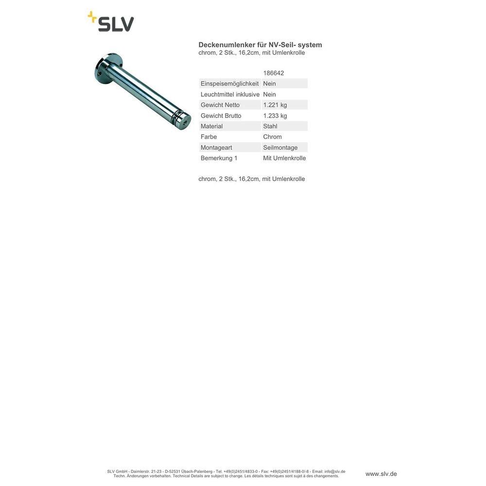 SLV Deckenumlenker für NV-Seilsystem chrom 2 Stk. 16,2cm mit Umlenkrolle 2