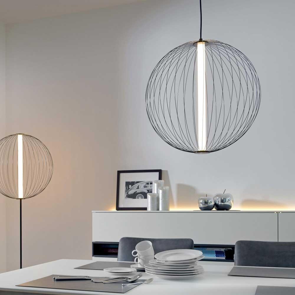 LED Pendelleuchte Atomic Ø 50cm Schwarz Warmweiß 1
