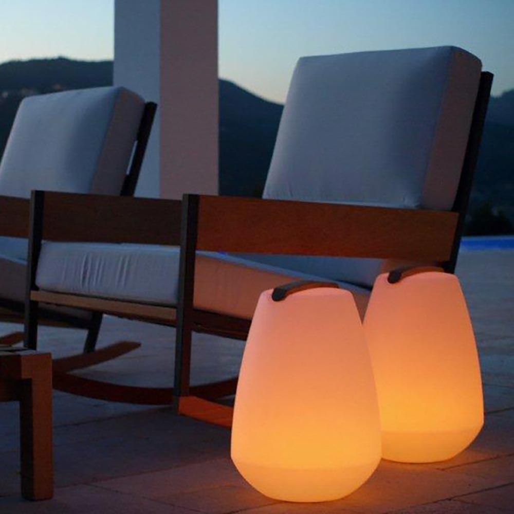 Akku LED-Dekolampe Vessel S mit Holzgriff & App-Steuerung 2