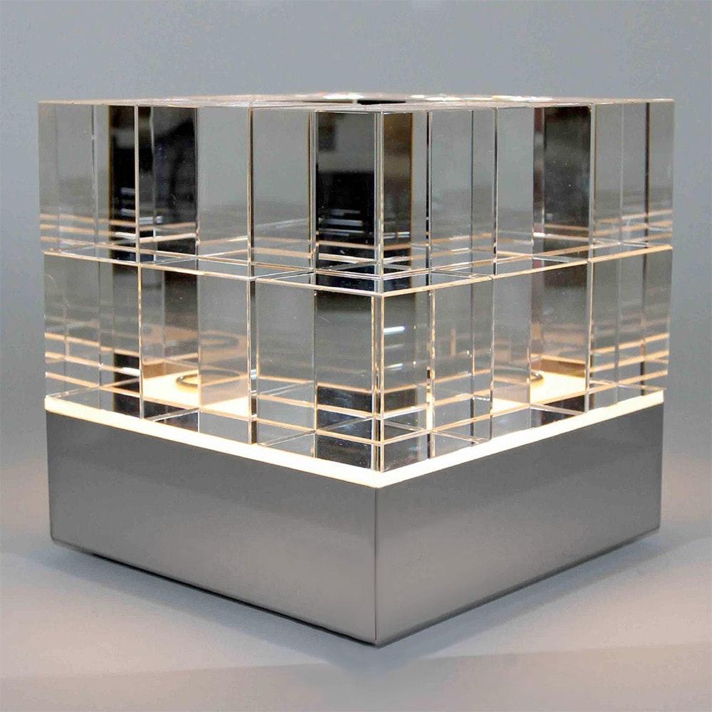 Tecnolumen Tischleuchte Cubelight Edelstahl Glas klar schwarz rosa 2