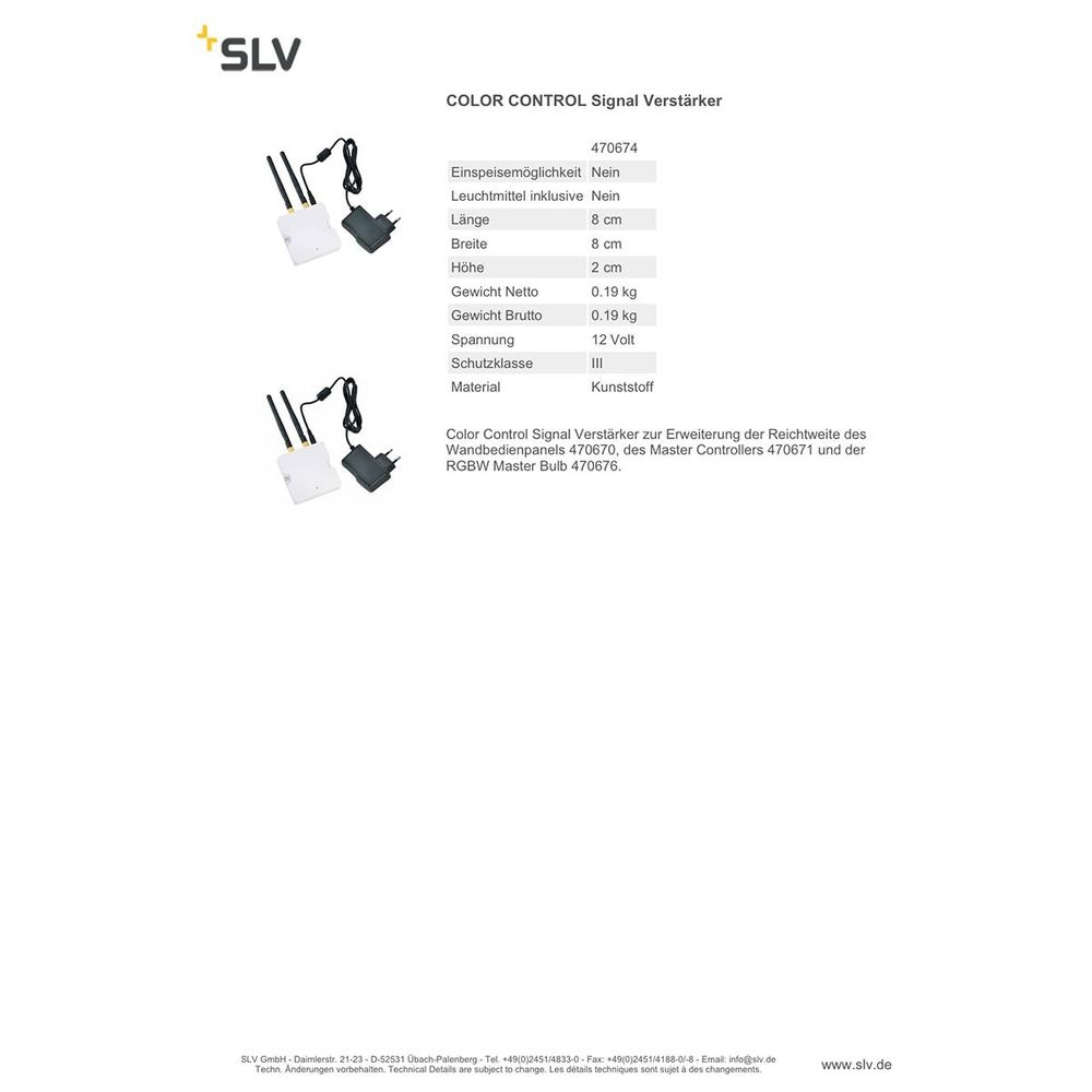 SLV Color Control EASY LIM WIFI RGBW REPEATER 230V 2