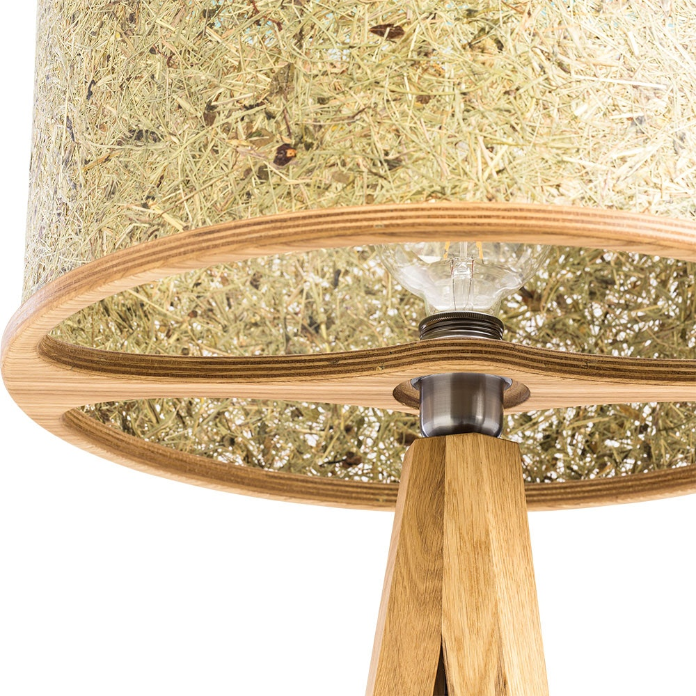 Holz Stehlampe 163cm mit Heuschirm 8