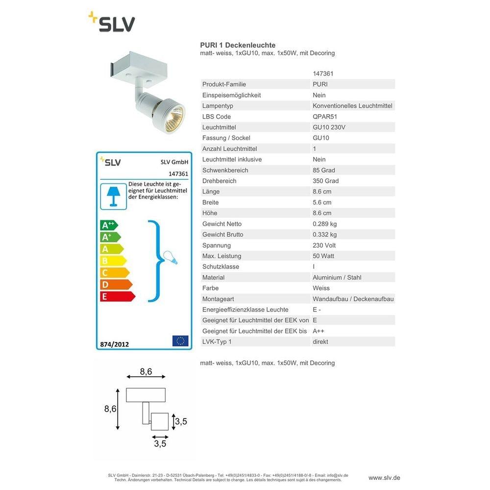 SLV Puri 1 Deckenleuchte Weiß 1xGU10 max. 1x50W mit Decoring 2