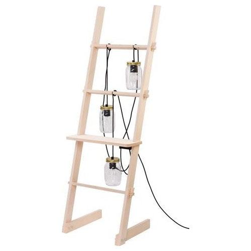 Ladder Leiter Stehleuchte mit 3 Gläsern Naturholz 2
