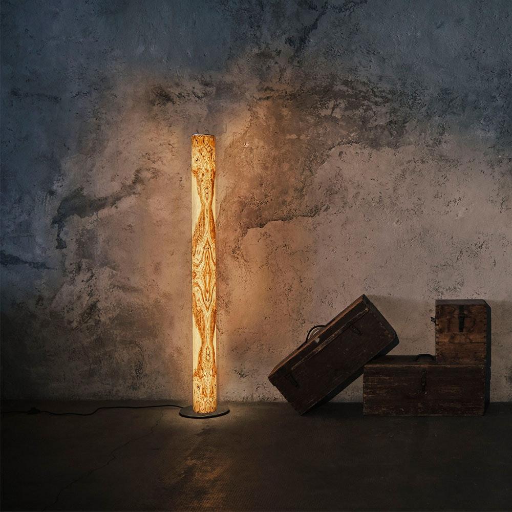 LED Stehleuchte Stein Columna 160cm Olivenmaser 1