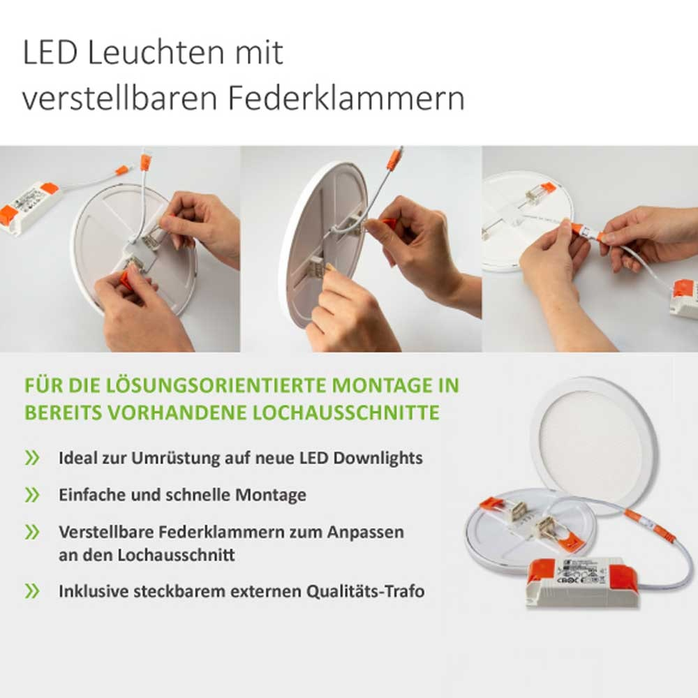 Einbau LED-Panel Ø 17,5cm Flex 15W Ausschnitt 5-16cm warmweiß 5