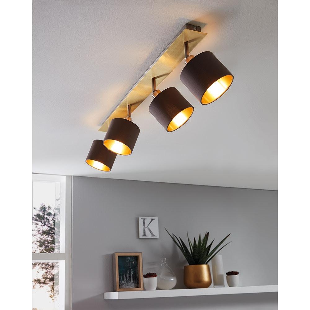 Licht-Trend Balken-Spot Suzano 4-flg. Messing, Cappuccino, Goldfarben